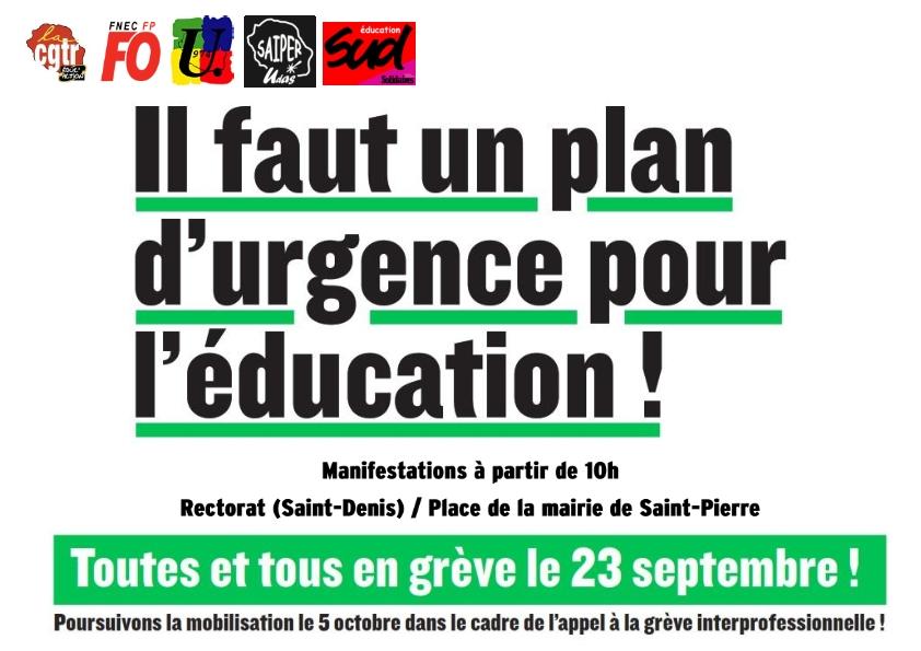 Affiche Intersyndicale Grève 23 septembre 2021